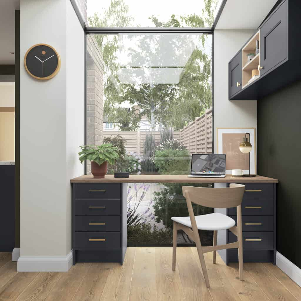home office in front of a full length glass window